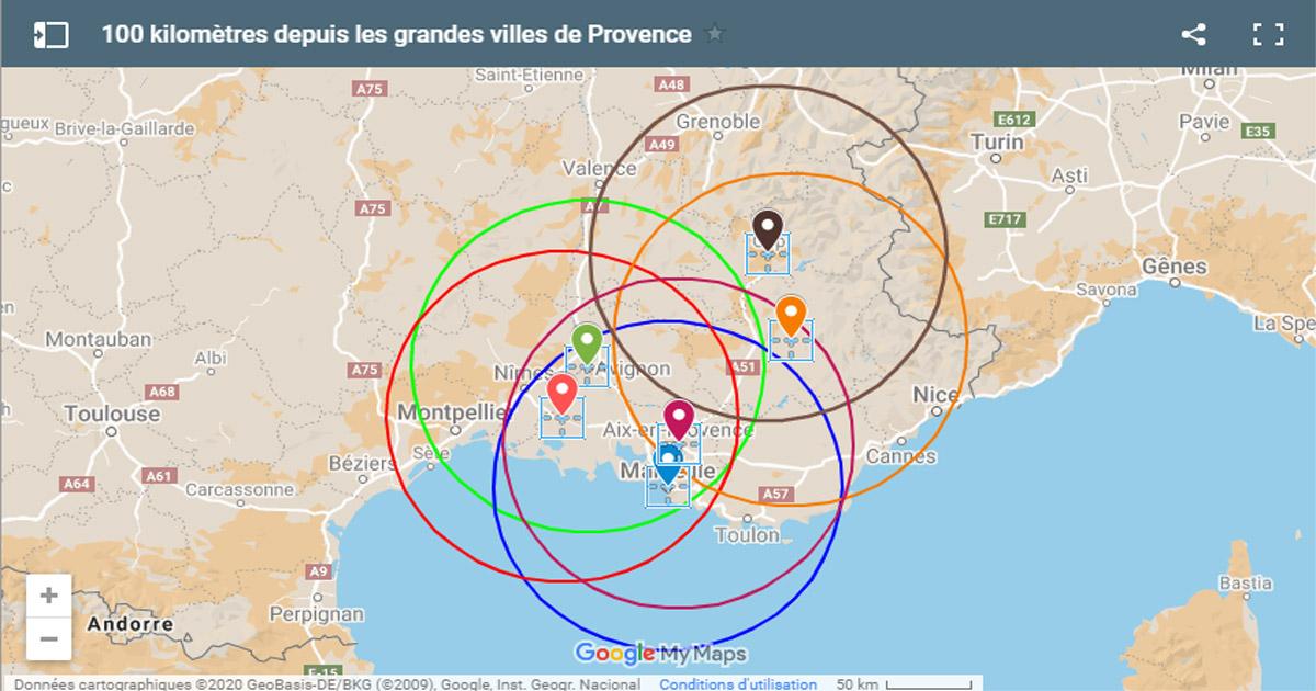 Déconfinement : cercles de 100 km